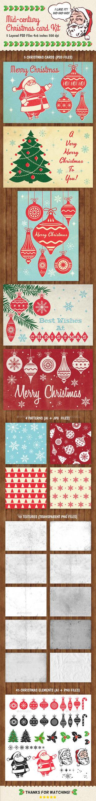 Mid-Century Christmas Card Kit by ottoson