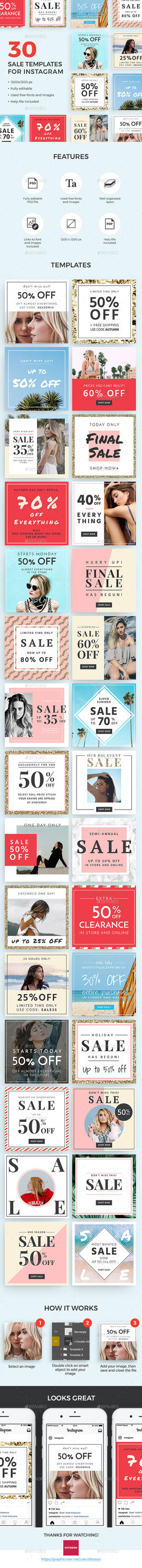 30 Sale Templates For Instagram by ottoson