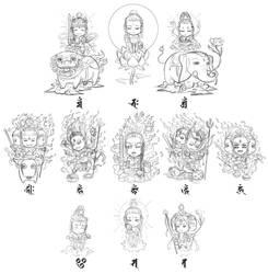 [rough sketch]Buddhist god (SD version)