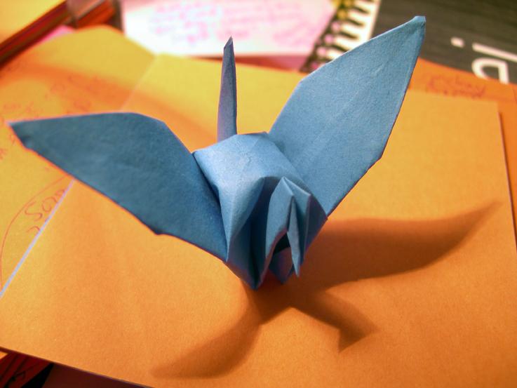 Blue Paper Crane by Creativeness