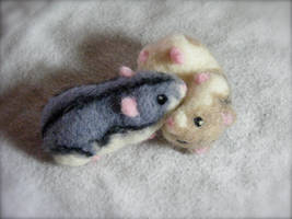 Needle Felted Dwarf Hamsters by CVDart1990