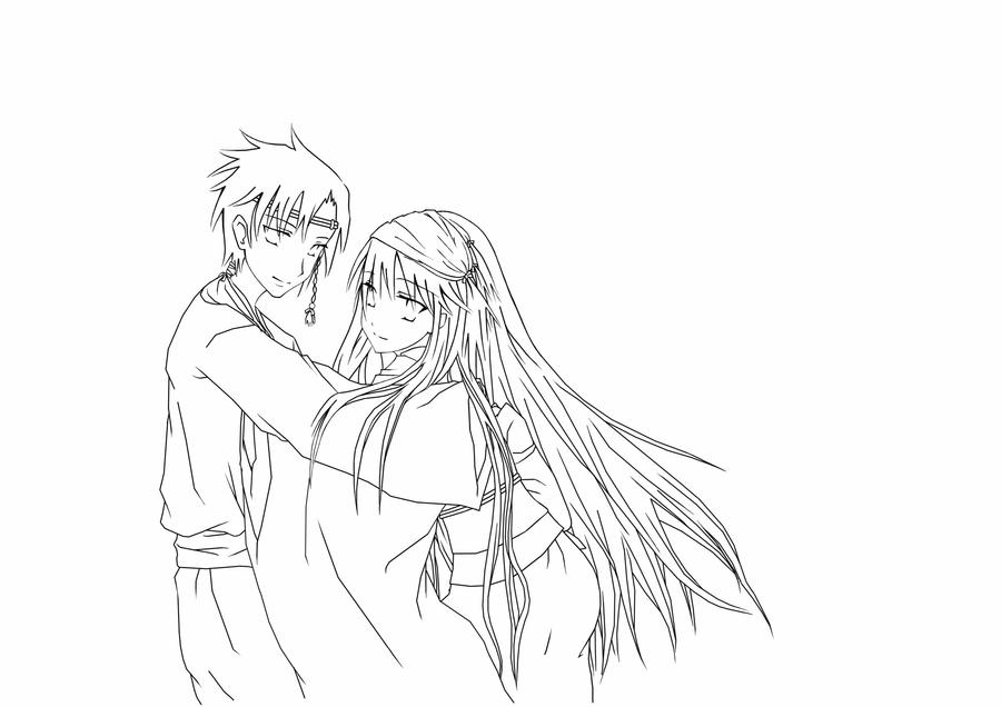 Line Art Couple : Japanese couple lineart by daevaluque on deviantart