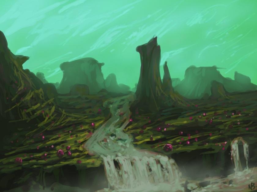 alien planet landscape by nickybeats