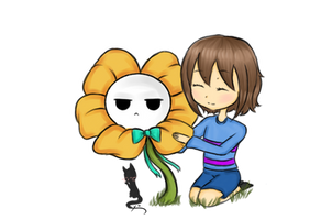 Frisk and Flowey (fanart by me) by Sleepbiirds