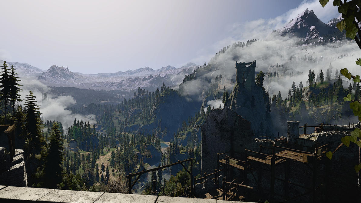Kaer Morhen Balcony view by TrueEros