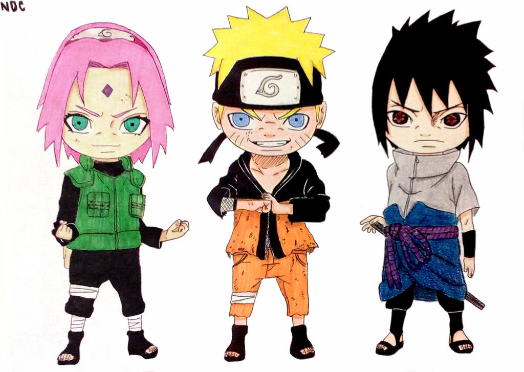Chibi team 7 reunited naruto sakura sasuke by for Wohnzimmertisch team 7