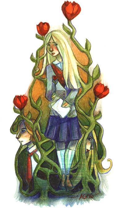roses and laurel by alidaART
