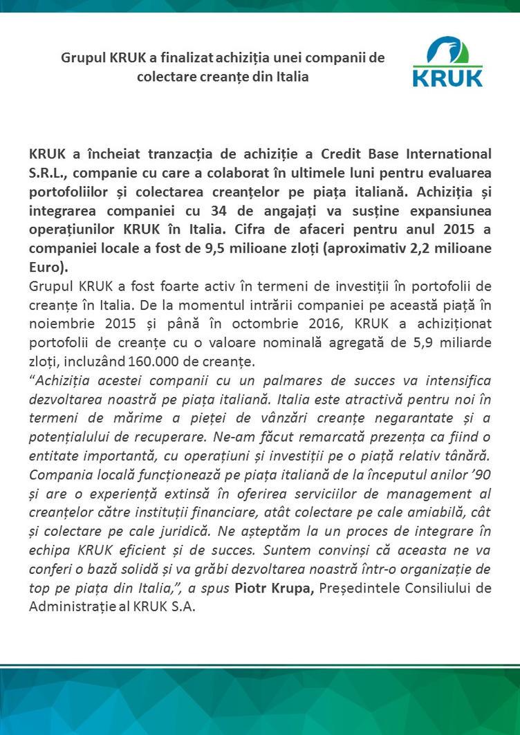 KRUK cumpara o companie de colectare debite by carla2010