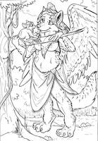 Lunamor and the tarsier - Inks by dani-kitty