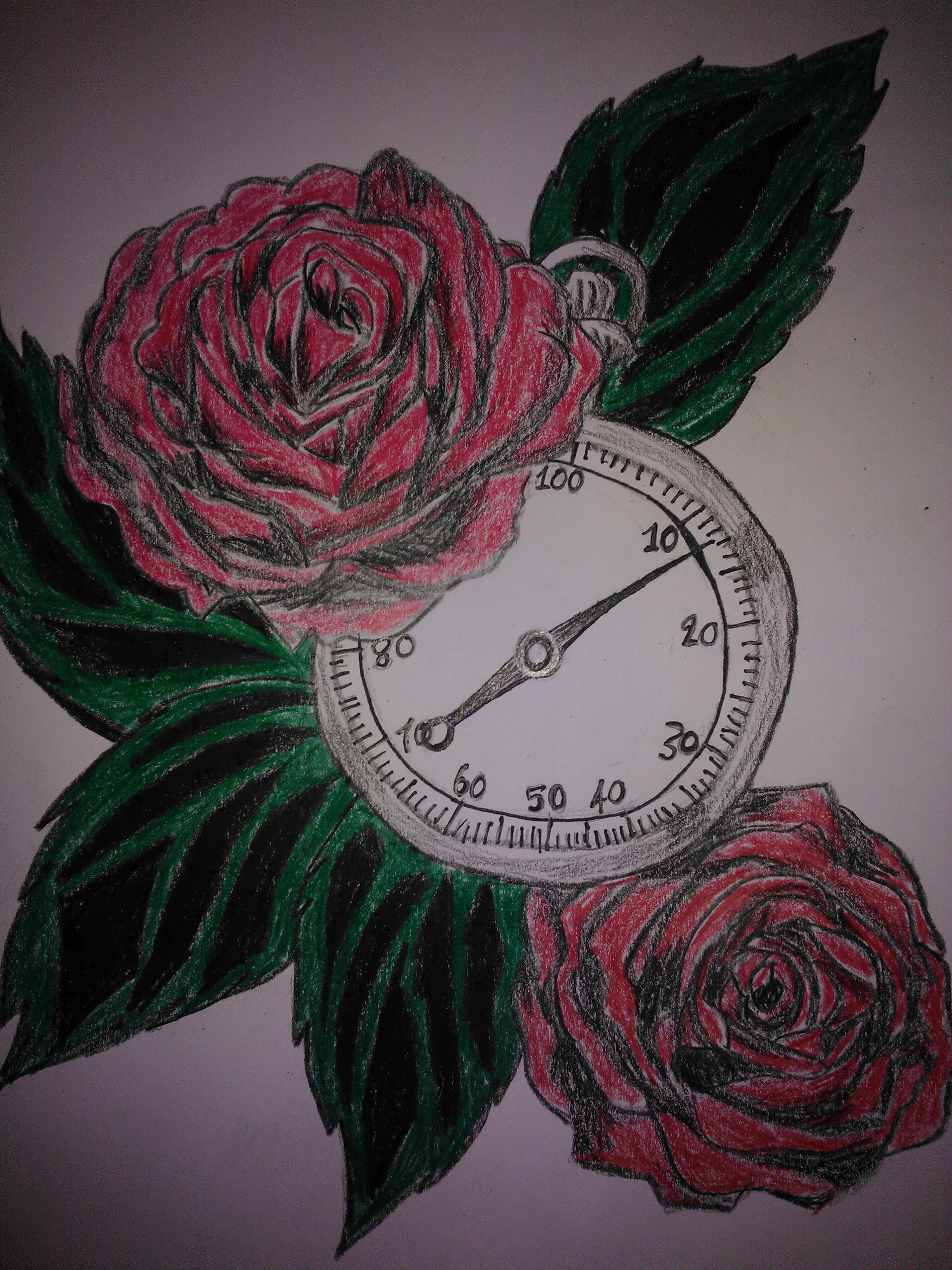 Rose stopwatch tattoo by mylittleponygal on deviantart for Stop watch tattoos