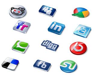 3D Web Social Icons Set PSD