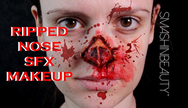 ripped shredded nose SFX Halloween Makeup  by smashinbeauty