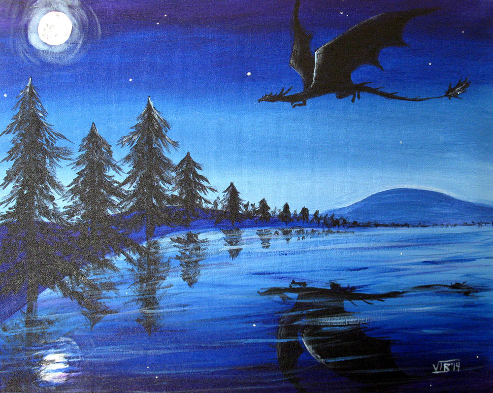 Dragon in Moonlight by Umberink