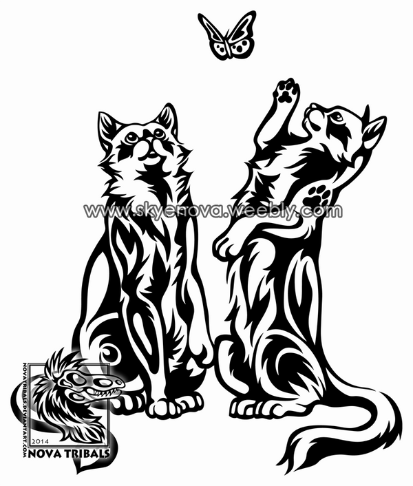 Playful cats tribal by therbis on deviantart for White cat tattoo floresta