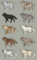 Semi-Realistic Wolf Adopts  -  Set 21 - OPEN by Therbis