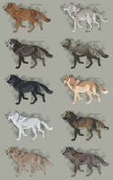 Semi-Realistic Wolf Adopts  -  Set 22 - CLOSED by Therbis
