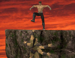 Johnny Cage and Goro
