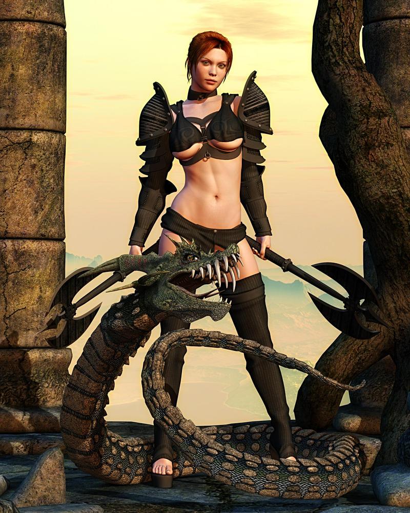 Warrioress and Dinokonda by ccbig