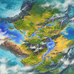 Feather and Flame world map by sensevessel