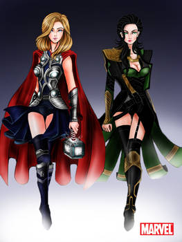Avengers: Thor and Loki Godesses