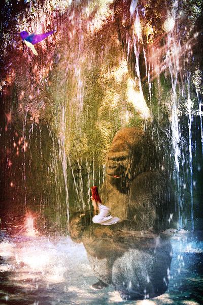 king kong  in  water falls by rochele10