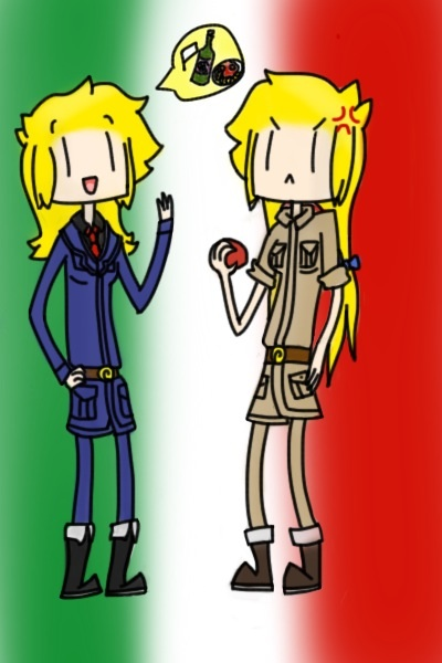 Chili pepper and Bluey as Italy and Romano by cray-shadowLinkette
