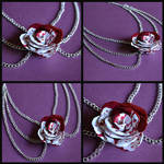 Bloody White Rose Necklace