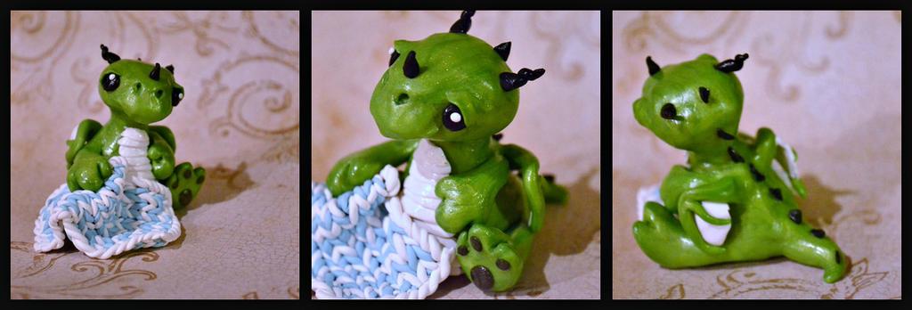 Green Dragon Baby And Polymer Clay Crochet Blanket by GoldenDaffadowndilly