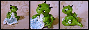 Green Dragon Baby And Polymer Clay Crochet Blanket