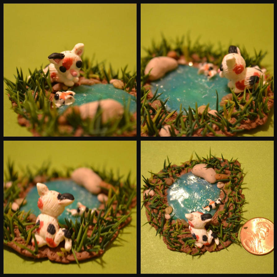Calico Kitten and Koi Fish Pond by GoldenDaffadowndilly