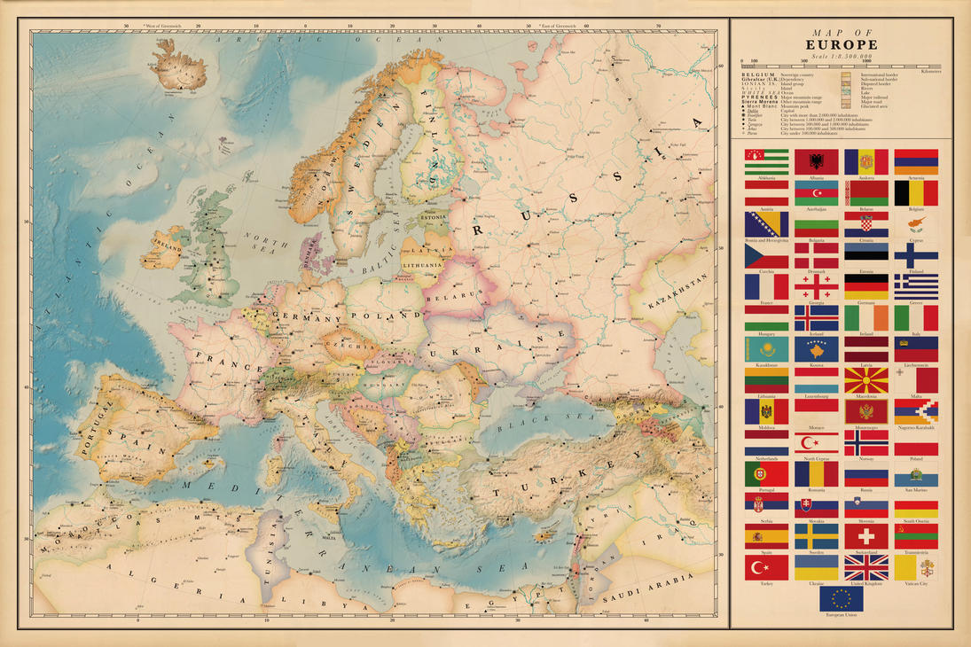 map of europe vintage poster by regicollis