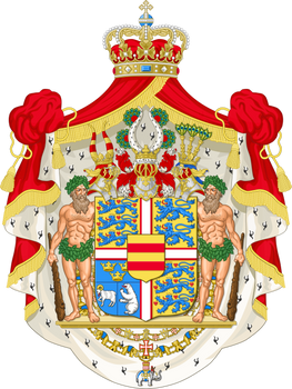 Coat of arms of the Danish sovereign with crests