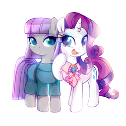 Maud Pie and Rarity by JumbleHorse