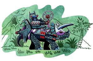 Dino Rider Triceratops by ehudsbloodysword