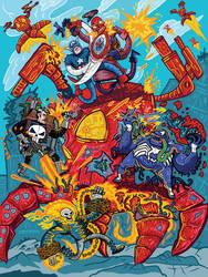Red Skull Poster by ehudsbloodysword