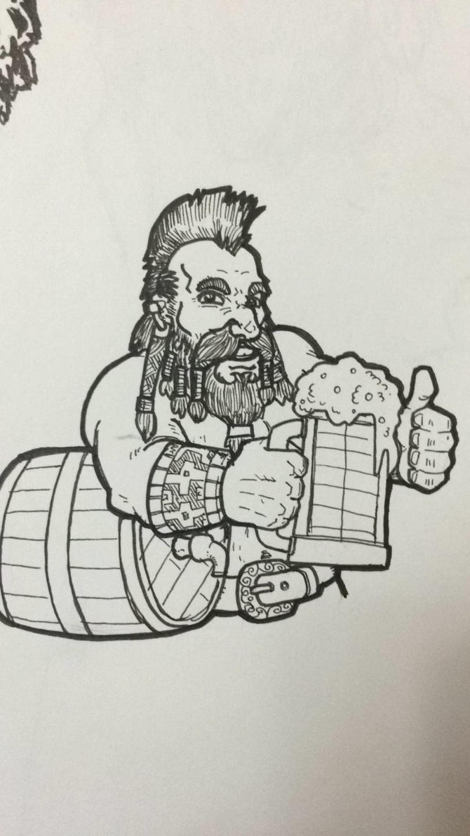 A dwarf and beer by sooboy
