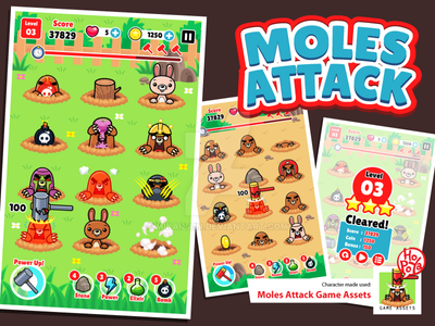 Moles Attack Game Assets by mikailain