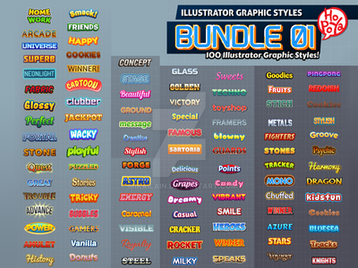 100 Illustrator Graphic Styles Bundle 01 by mikailain