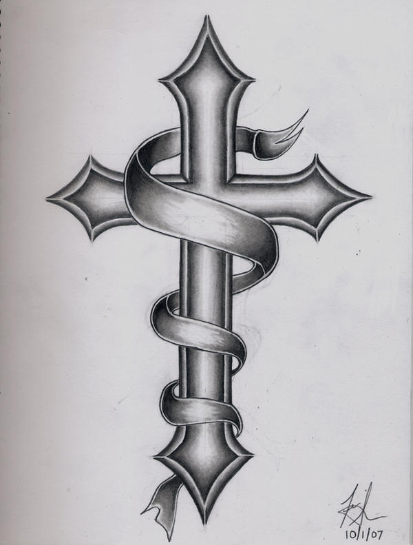 cross tattoo by dirtyd41 on deviantart rh deviantart com cross with banner tattoo ideas cross tattoo with name banner