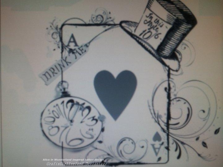 alice in wonderland inpired tattoo design by grafixgirlireland on deviantart. Black Bedroom Furniture Sets. Home Design Ideas