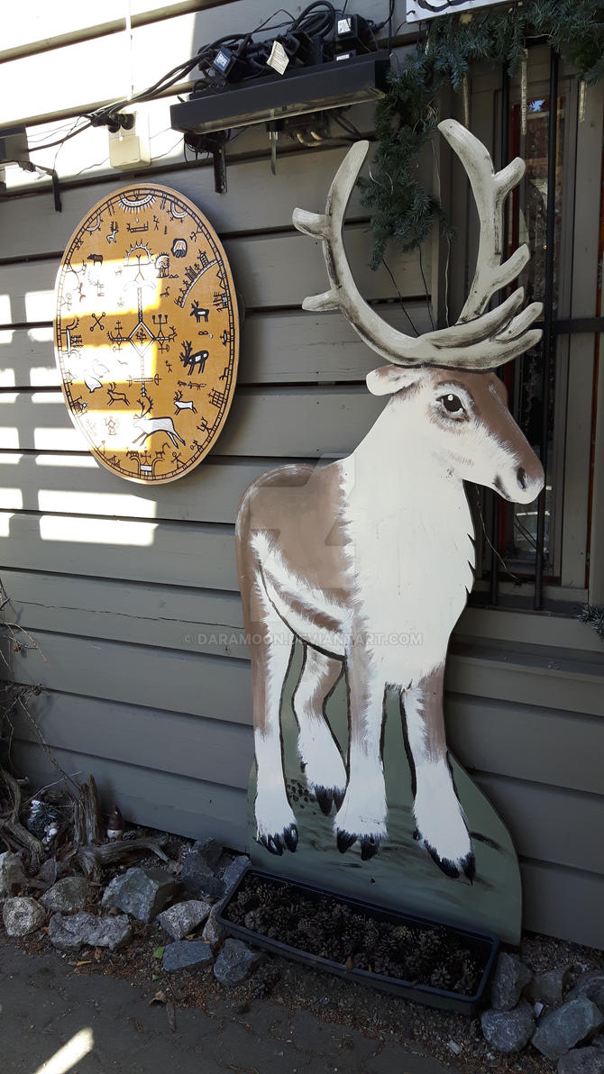 Sami drum and reindeer by Daramoon