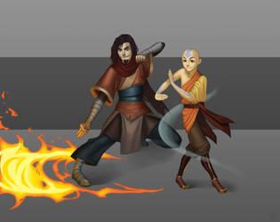 Avatar Wan and Avatar Aang together by Xelandra by phantom115cw