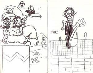 Wario and Waluigi sketches