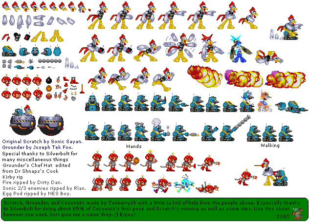 Scratch, Grounder, Coconuts sprite sheet
