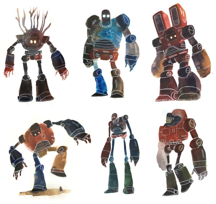Watercolour Robots 1 by Duffzilla