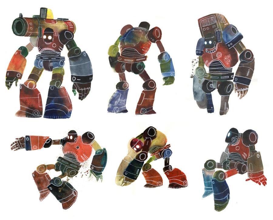 Watercolour Robots 3 by Duffzilla