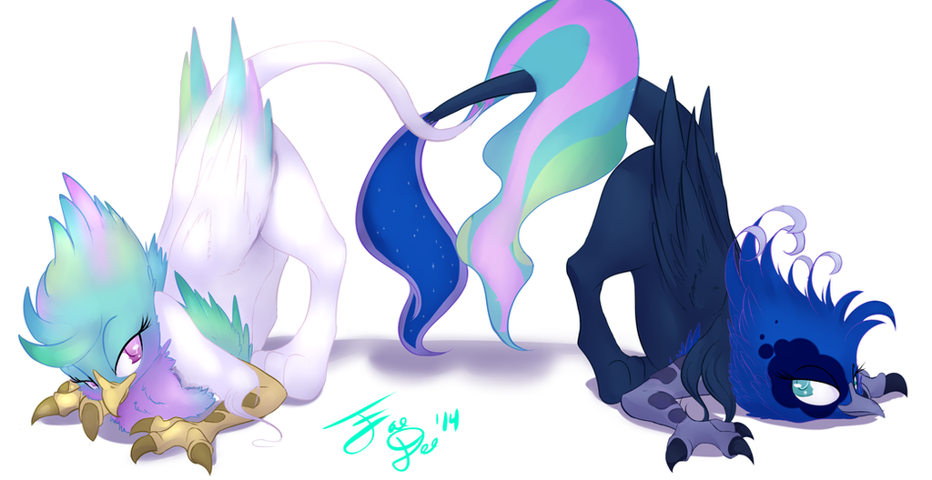 celestia and luna griffons by faedeedraws on deviantart