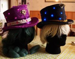 Steampunk top hats purple black STOCK by Cyan-stock