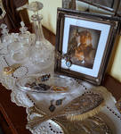 Victorian Vanity jewelry crystal still life STOCK