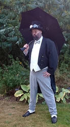 Steampunk man with umbrella Penguin 3 STOCK by Cyan-stock